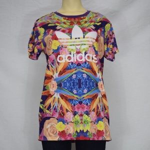 Adidas | Floral Abstract Multi Colored Tee Shirt L